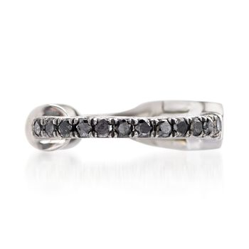Black Diamond- Accented Single Ear Cuff in 14kt White Gold, , default