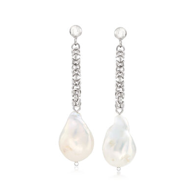 14-16mm Cultured Baroque Pearl Drop Earrings with Byzantine Chain in Sterling Silver, , default
