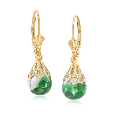 .70 ct. t.w. Floating Emerald Hoop Drop Earrings in 14kt Yellow Gold, , default