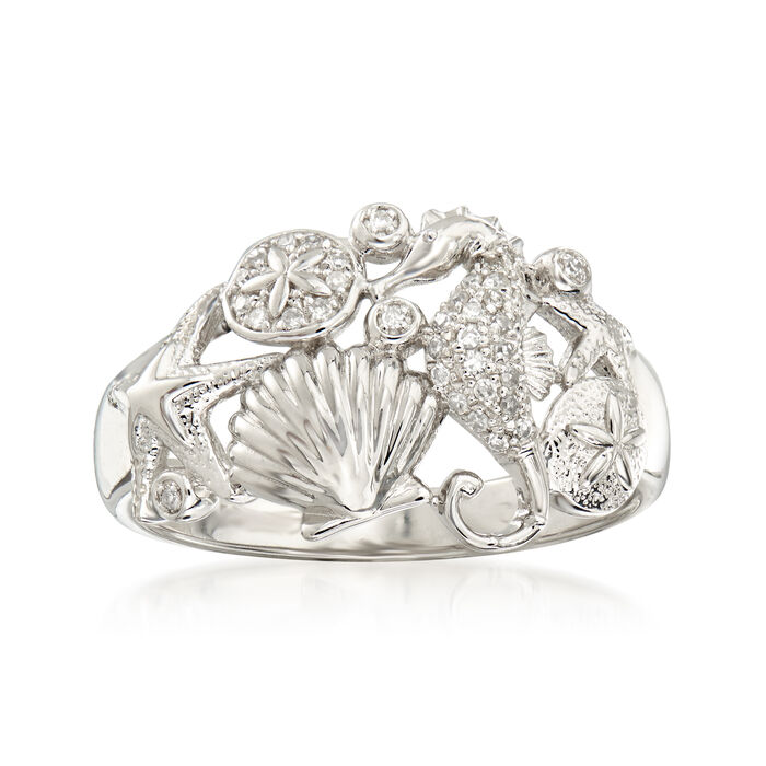 .10 ct. t.w. Diamond Sea Life Ring in Sterling Silver, , default