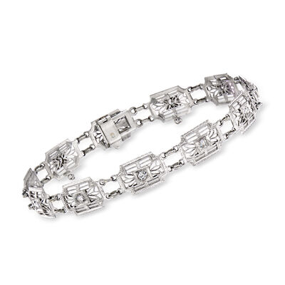 C. 1950 Vintage .50 ct. t.w. Diamond Filigree Bracelet in 14kt White Gold, , default