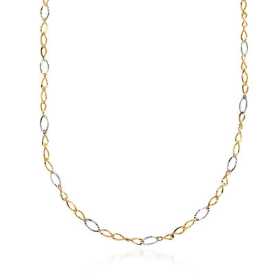 14kt Two-Tone Gold Twisted Oval Link Necklace, , default