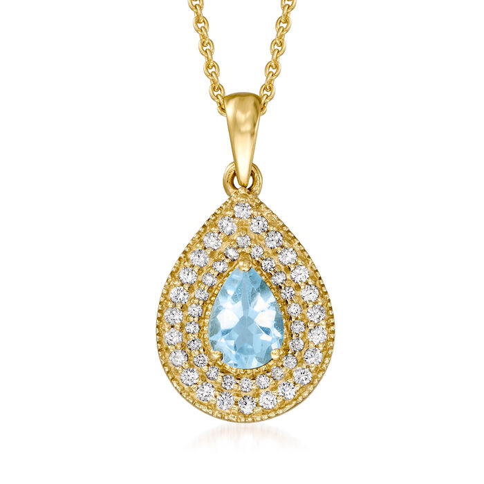 .70 Carat Sky Blue Topaz and .60 ct. t.w. White Topaz Pendant Necklace in 18kt Gold Over Sterling