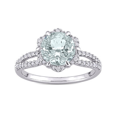 1.60 Carat Aquamarine and Diamond-Accented Ring in 14kt White Gold