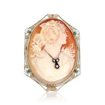 C. 1950 Vintage Pink Shell Cameo Pin Pendant with Diamond Accent in 14kt White Gold