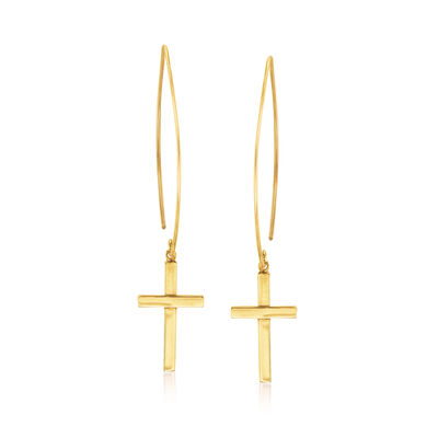 14kt Yellow Gold Cross Threader Earrings