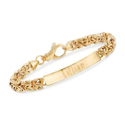 Italian 18kt Gold Over Sterling Byzantine Name Bar ID Bracelet, , default