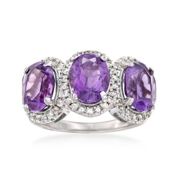 5.00 ct. t.w. Amethyst and .50 ct. t.w. White Topaz Three-Stone Ring in Sterling Silver, , default