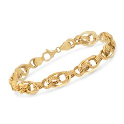 "Italian 14kt Yellow Gold Interlocking Link Bracelet. 8.5"", , default"