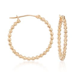 "14kt Yellow Gold Beaded Hoop Earrings. 7/8"", , default"