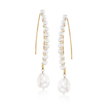 3-9.5mm Cultured Pearl Linear Drop Earrings in 14kt Gold Over Sterling, , default