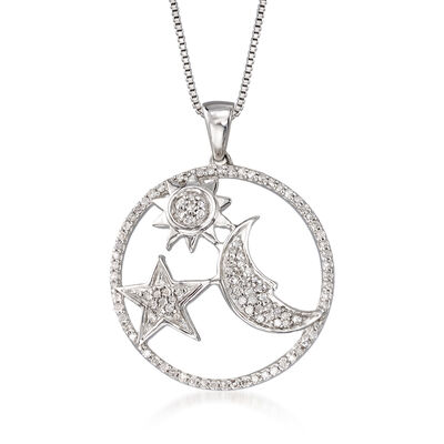 .34 ct. t.w. Diamond Moon and Star Pendant Necklace in Sterling Silver, , default