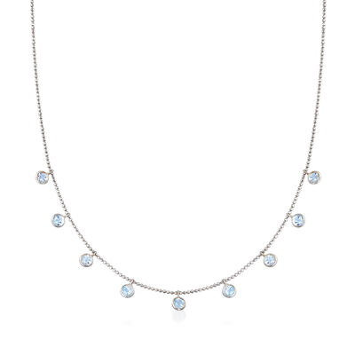 C. 1990 Vintage 1.80 ct. t.w. Aquamarine Drop Station Necklace in 14kt White Gold, , default