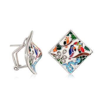 """Belle Etoile """"Tropical Rainforest"""" Ivory and Multicolored Enamel Earrings with .10 ct. t.w. CZs in Sterling Silver, , default"""
