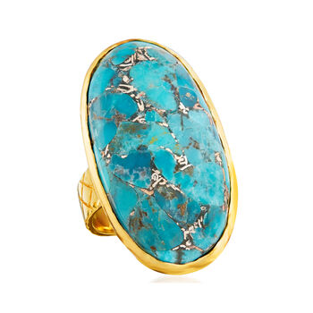 Mosaic Turquoise Ring in 18kt Gold Over Sterling, , default
