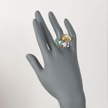 Simulated Multi-Stone Ring in 14kt Gold Over Sterling, , default