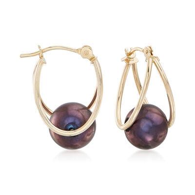 8-9mm Black Cultured Pearl Double Hoop Earrings in 14kt Gold, , default