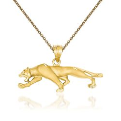 "14kt Yellow Gold Panther Pendant Necklace. 18"", , default"
