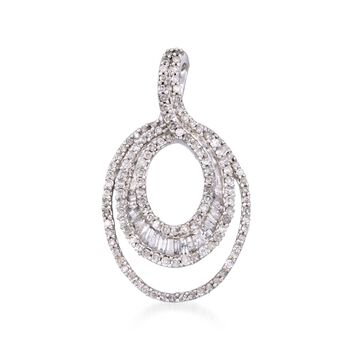 .70 ct. t.w. Baguette and Round Diamond Pendant in 14kt White Gold, , default
