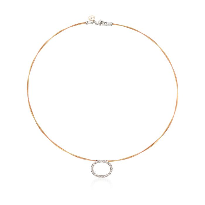 "ALOR ""Classique"" .21 ct. t.w. Diamond Oval Yellow and Rose Cable Necklace With 18kt Two-Tone Gold. 17.5"", , default"