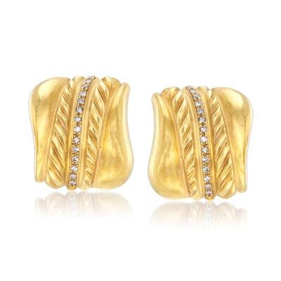 C. 1980 Vintage .60 ct. t.w. Diamond Earrings in 18kt Yellow Gold, , default