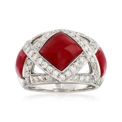 C. 1990 Vintage Red Coral and 1.10 ct. t.w. Diamond Ring in 18kt White Gold, , default