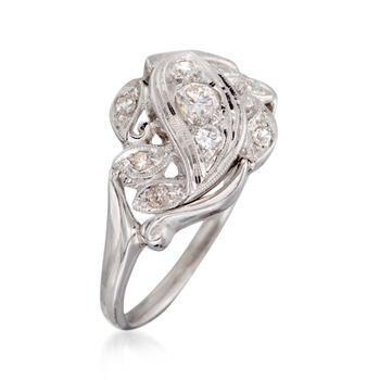 C. 1950 Vintage .30 ct. t.w. Diamond Leaf Ring in 14kt White Gold. Size 8.25, , default