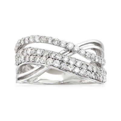 1.00 ct. t.w. Diamond Crisscross Ring in Sterling Silver