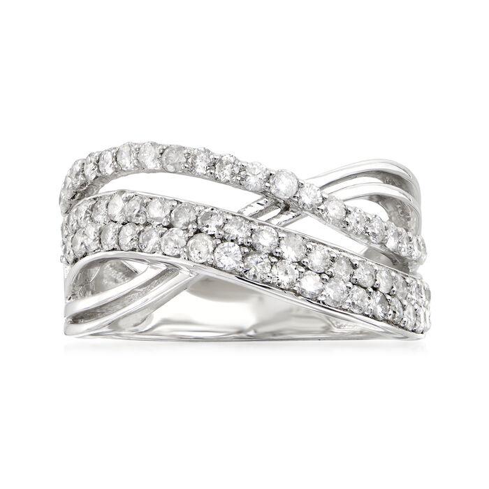 1.00 ct. t.w. Diamond Crisscross Ring in Sterling Silver