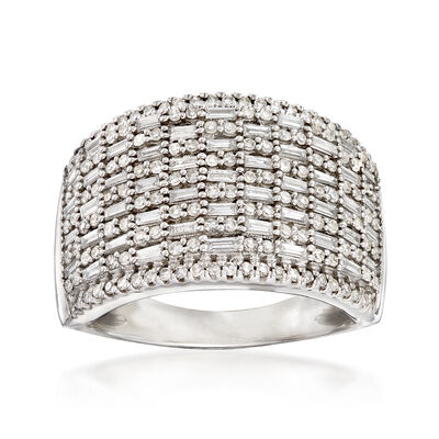 .98 ct. t.w. Round and Baguette Diamond Basketweave Ring in 14kt White Gold, , default