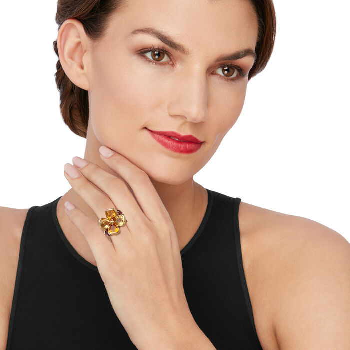 C. 2000 Vintage Chanel 7.00 ct. t.w. Citrine and 1.40 ct. t.w. Rhodolite Garnet Flower Ring in 18kt Yellow Gold