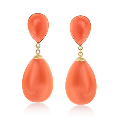Coral Teardrop Earrings in 14kt Yellow Gold