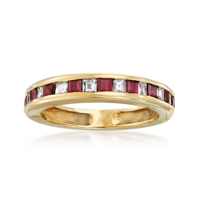 C. 1980 Vintage .85 ct. t.w. Ruby and .50 ct. t.w. Diamond Band in 14kt Yellow Gold. Size 6, , default