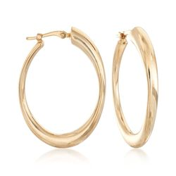 "14kt Yellow Gold Oval Hoop Earrings. 1 1/8"", , default"