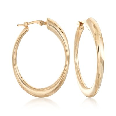 14kt Yellow Gold Oval Hoop Earrings, , default