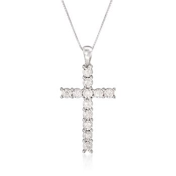 ".25 ct. t.w. Diamond Illusion Cross Pendant Necklace in Sterling Silver. 18"", , default"