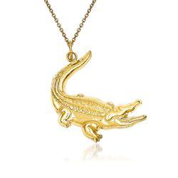 "14kt Yellow Gold Alligator Pendant Necklace. 18"", , default"