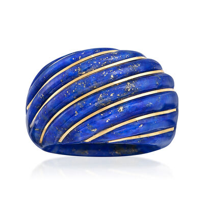28x30mm Craved Lapis Dome Ring with 14kt Yellow Gold