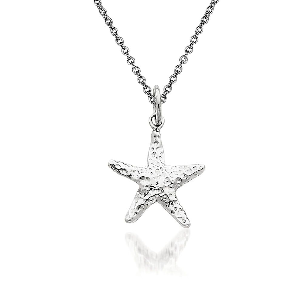 14kt white gold starfish pendant necklace 18 ross simons 14kt white gold starfish pendant necklace 18quot default mozeypictures Choice Image