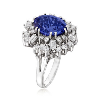 C. 1980 Vintage 6.45 Carat Tanzanite and 2.25 ct. t.w. Diamond Cocktail Ring in 18kt White Gold. Size 7