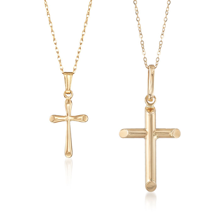Mom & Me Cross Pendant Necklace Set of Two in 14kt Yellow Gold