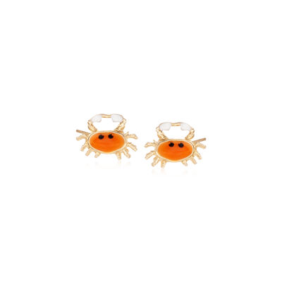 Child's Orange Enamel Crab Stud Earrings in 14kt Yellow Gold, , default