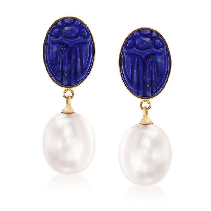 Cultured Pearl and Lapis Drop Earrings in 14kt Yellow Gold, , default