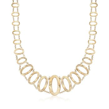 14kt Yellow Gold Graduated Oval-Link Necklace, , default