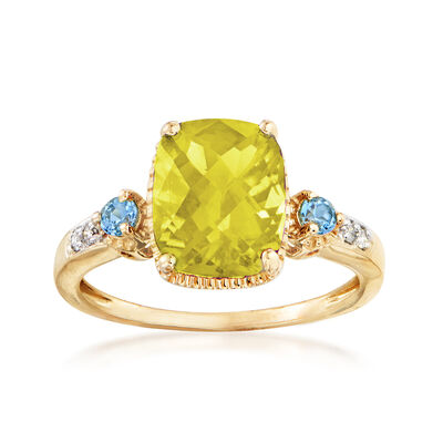 3.00 ct. t.w. Lemon Quartz and Blue Topaz Ring in 14kt Yellow Gold