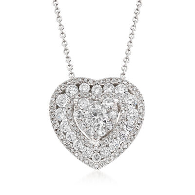 1.00 ct. t.w. Diamond Illusion Heart Pendant Necklace in 14kt White Gold