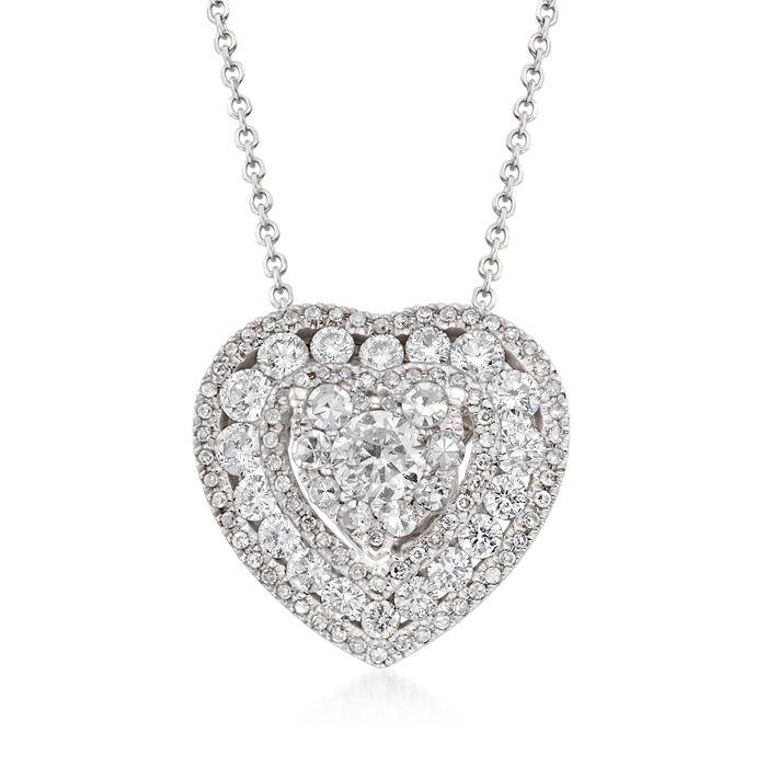 "1.00 ct. t.w. Diamond Illusion Heart Pendant Necklace in 14kt White Gold. 18"""