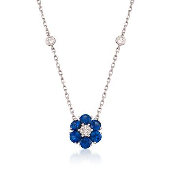 """1.15 ct. t.w. Sapphire and .45 ct. t.w. Diamond Floral Station Necklace in 14kt White Gold. 18"""", , default"""