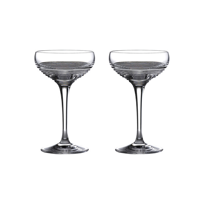 """Waterford Crystal """"Mixology Circon"""" Set of 2 Coupe Glasses"""