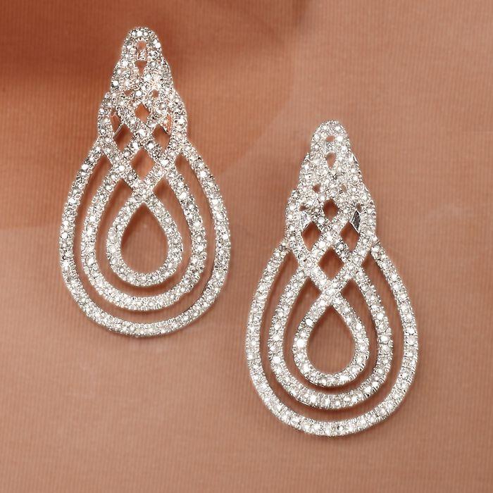 1.00 ct. t.w. Diamond Swirl Drop Earrings in Sterling Silver